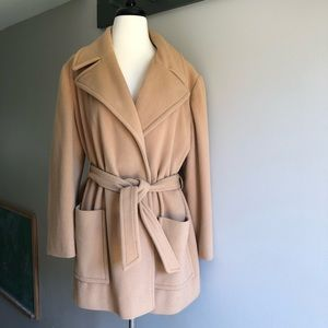 Vintage Wrap Coat Tan Camel Khaki Wool Medium